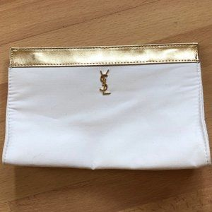 YSL white and gold clutch / makeup bag
